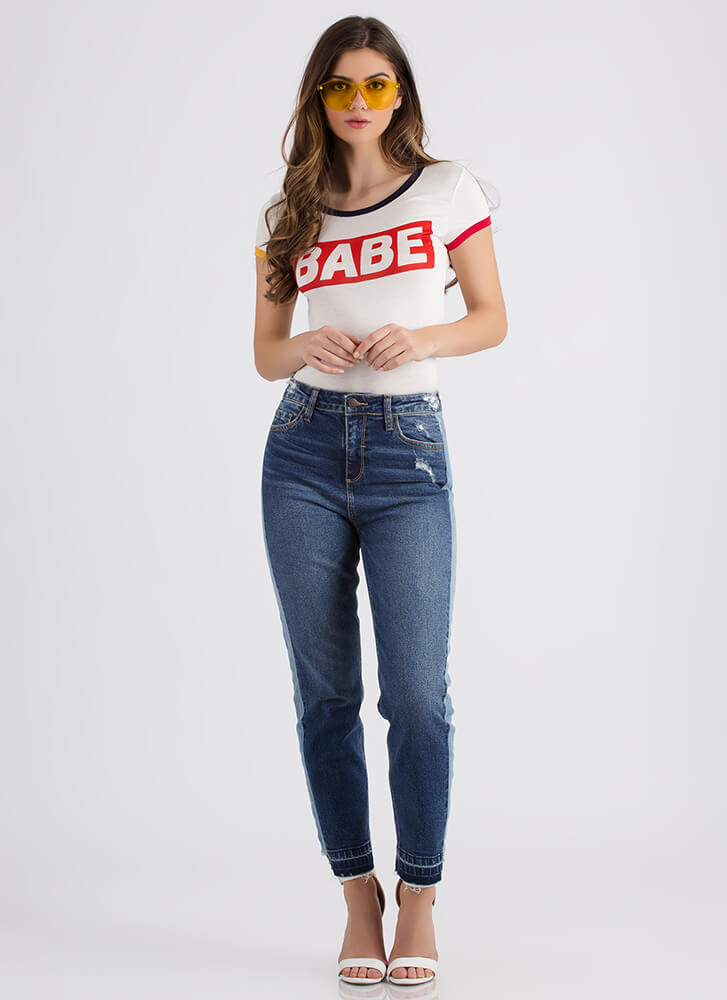 Babe Magnet Graphic Ringer Tee IVORY