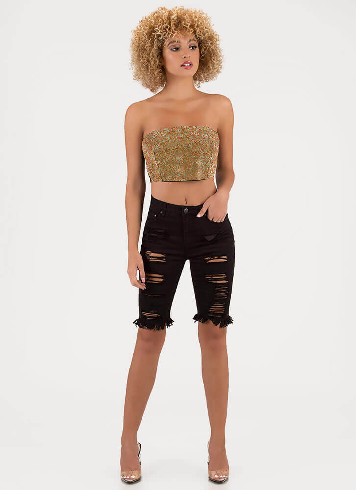 The Party Life Jeweled Cropped Tube Top MULTI