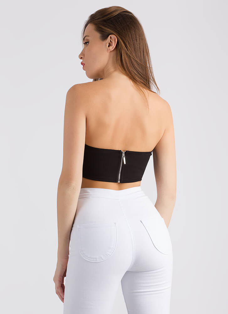 The Party Life Jeweled Cropped Tube Top SILVER