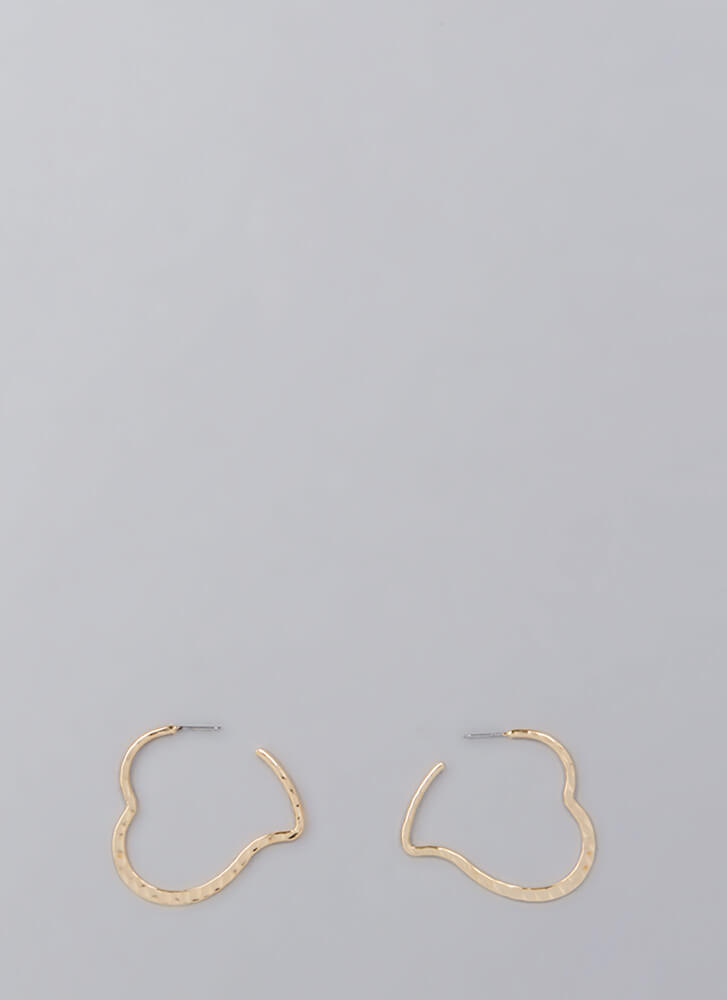 My Heart Is Full Partial Hoop Earrings GOLD