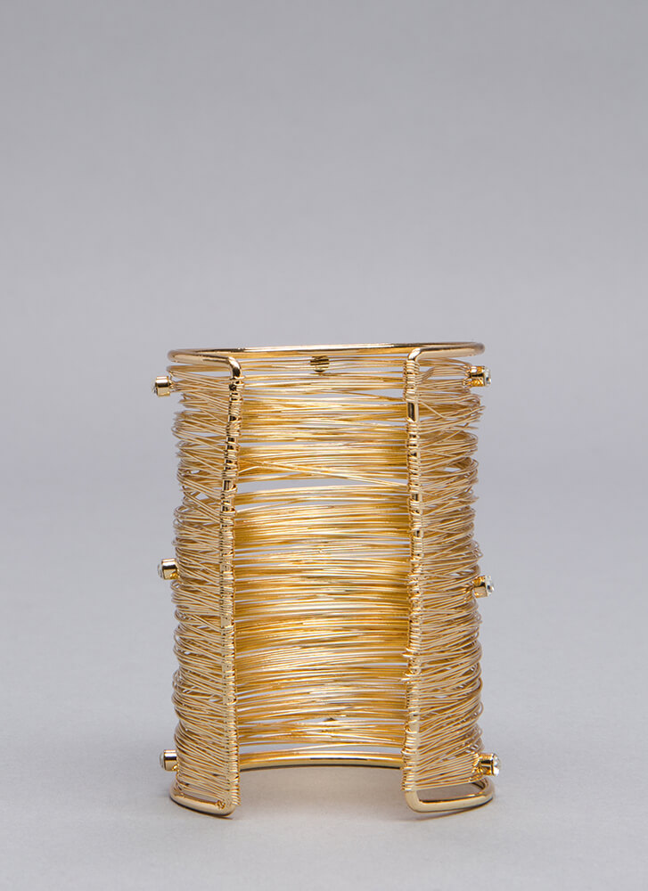 Under The Wire Jeweled Cuff GOLD