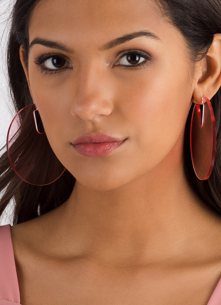 Clearly Cool Oversized Disc Earrings PINK