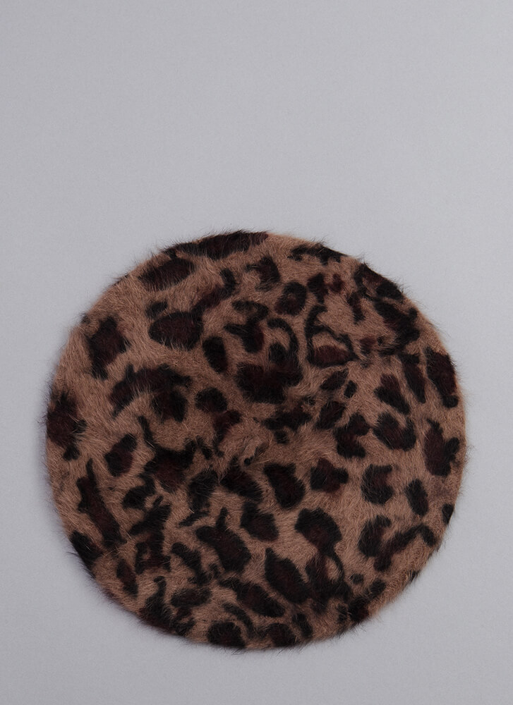 Spotted In A Leopard Faux Fur Beret BROWN