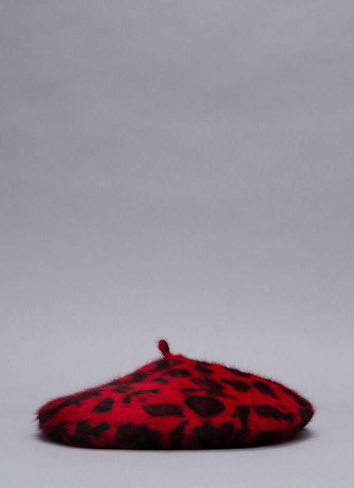 Spotted In A Leopard Faux Fur Beret RED