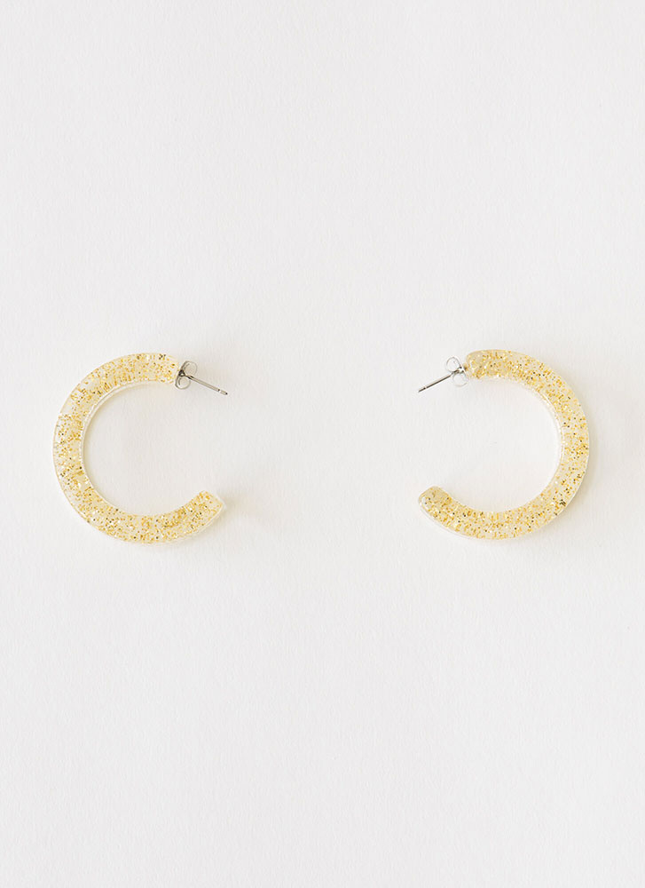 Clearly 90's Partial Hoop Earrings  GOLD