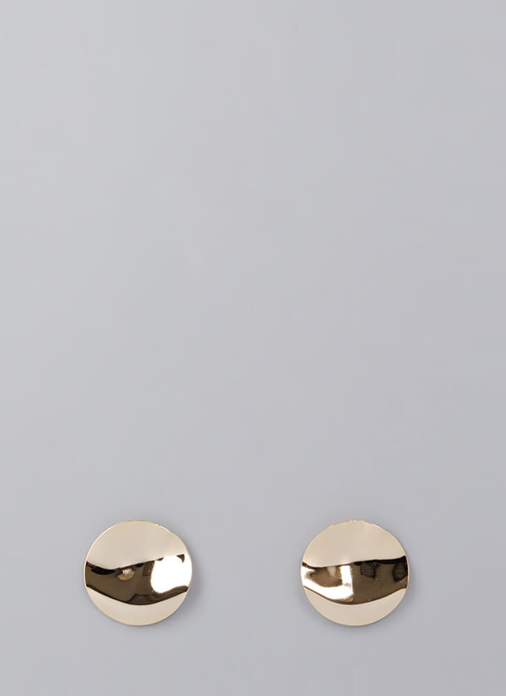 Cymbal-ism Hammered Disc Earrings GOLD (Final Sale)
