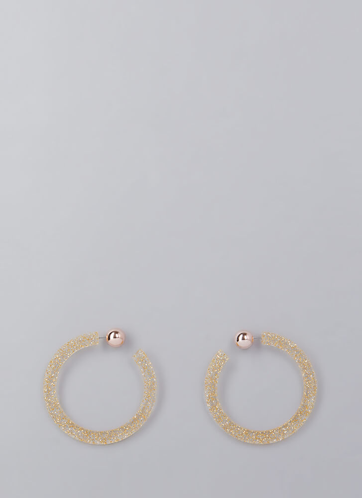 Back A Round Partial Hoop Earrings GOLD