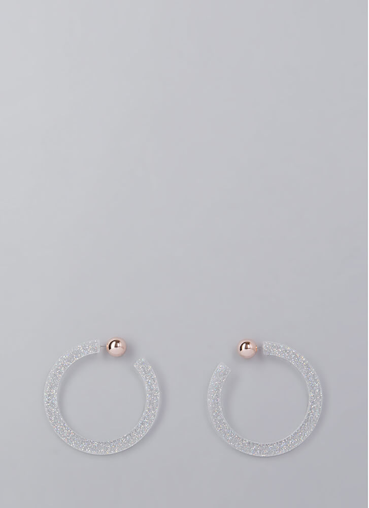 Back A Round Partial Hoop Earrings SILVER