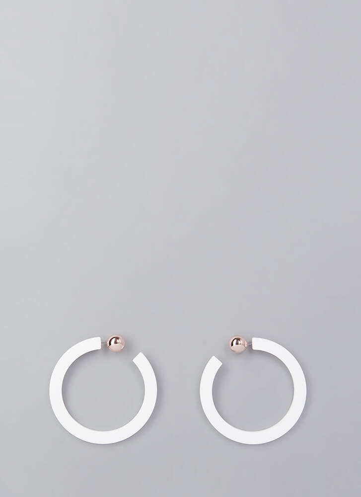 Back A Round Partial Hoop Earrings WHITE