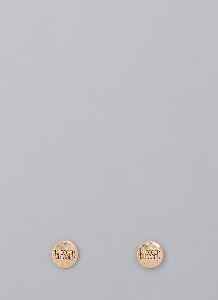 Overly Blessed Hammered Plate Earrings GOLD