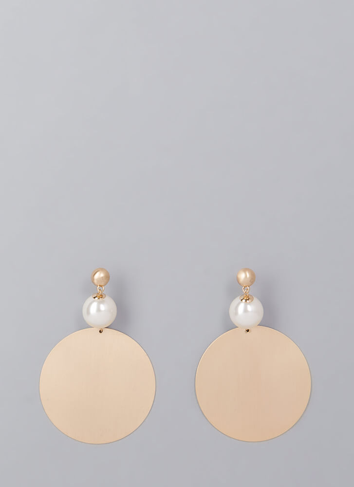 Disc Jockey Faux Pearl Earrings GOLD