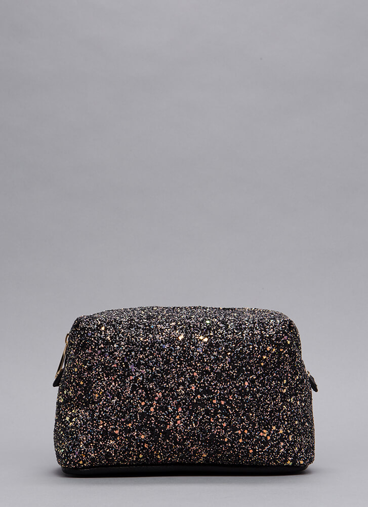 Only Shine Glittery Makeup Pouch BLACK