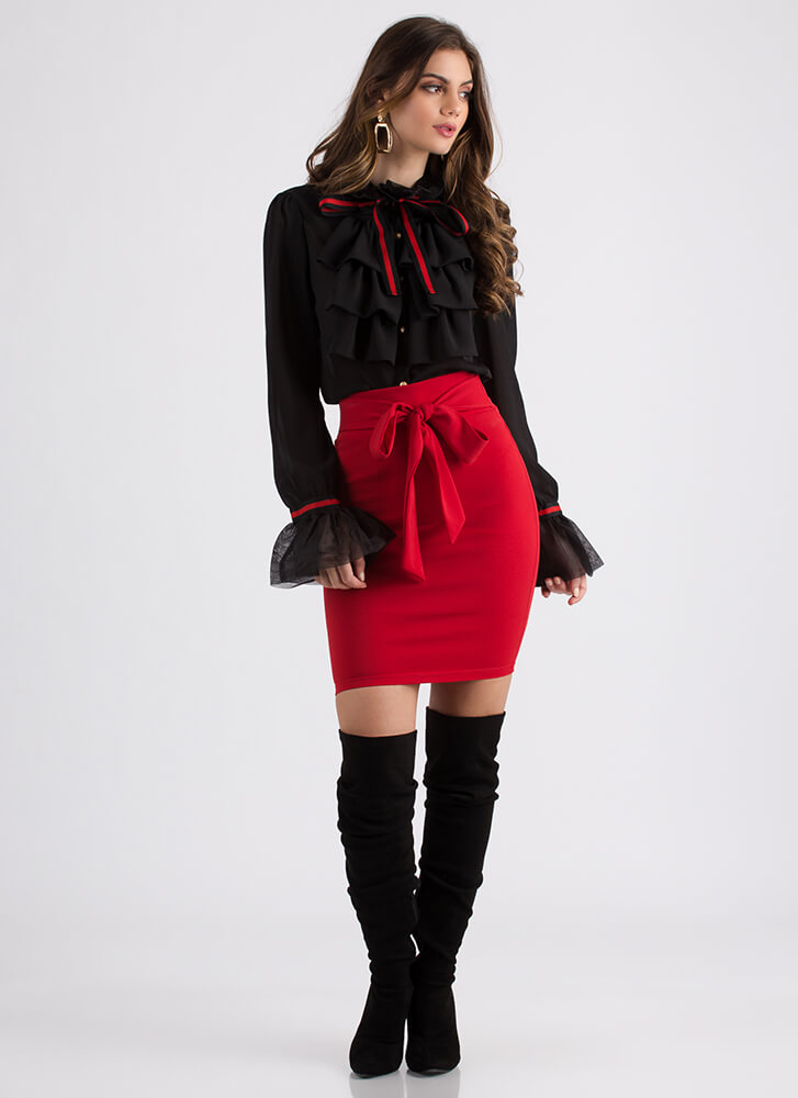 Poetry In Motion Ruffled Bow Blouse BLACK