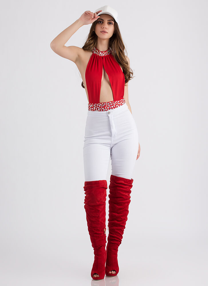 Too Hot Jeweled Cut-Out Bodysuit RED