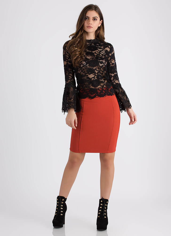 Gorgeous Girl Lace Bell Sleeve Top BLACK