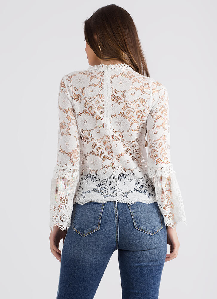 Gorgeous Girl Lace Bell Sleeve Top WHITE