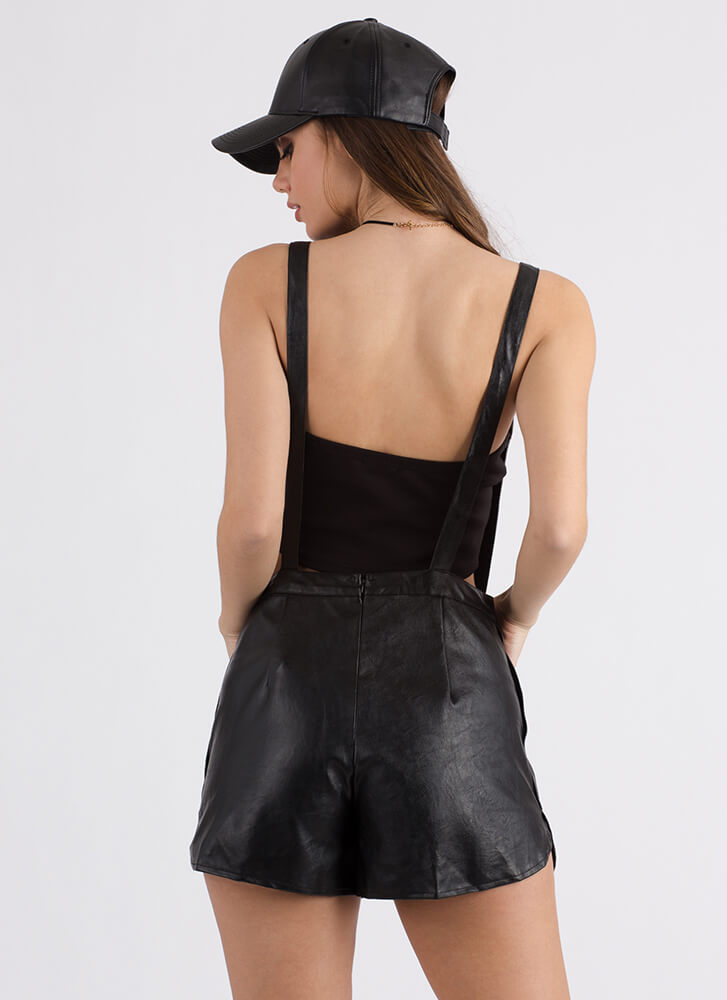 Get To Work Faux Leather Shortalls BLACK