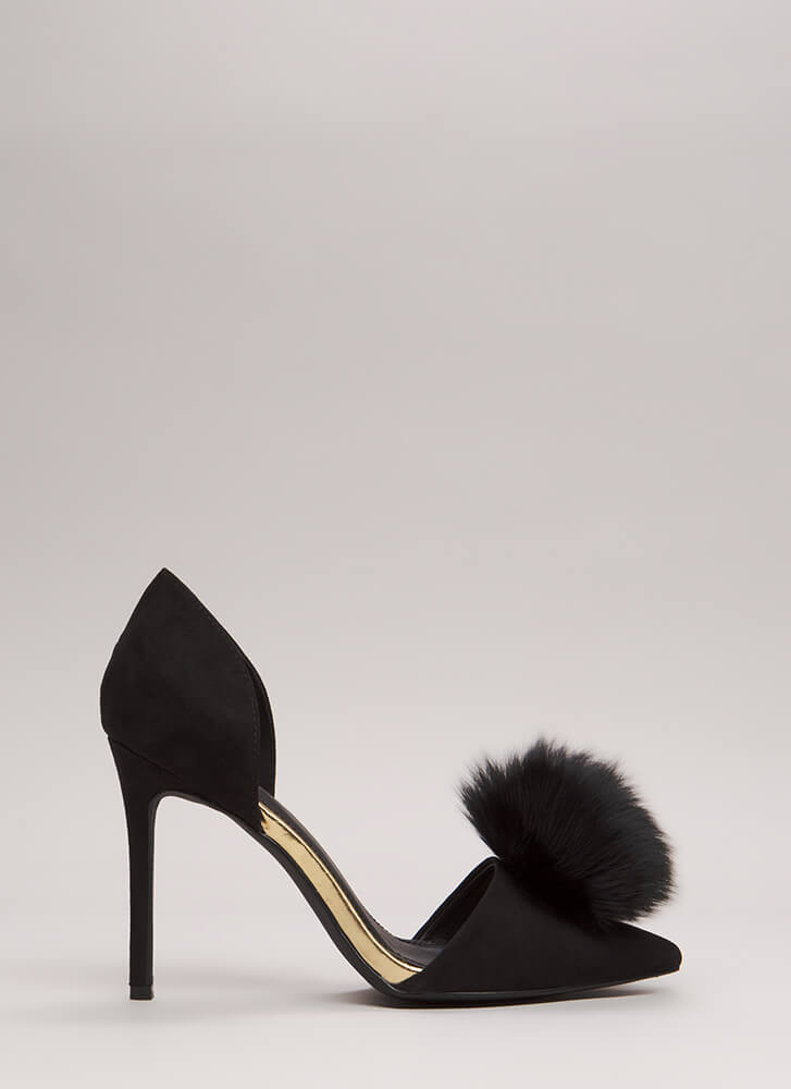 Genuine Article Fur Pom-Pom Heels BLACK