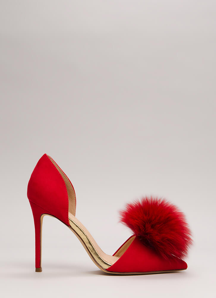 Genuine Article Fur Pom-Pom Heels RED