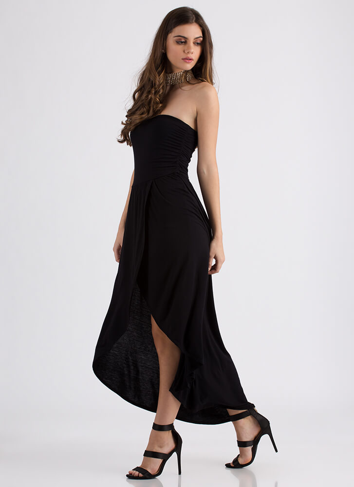 Out And About Strapless High-Low Dress BLACK