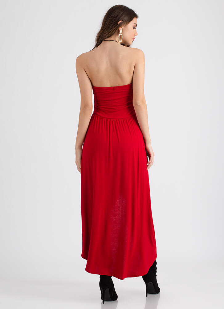 Out And About Strapless High-Low Dress RED