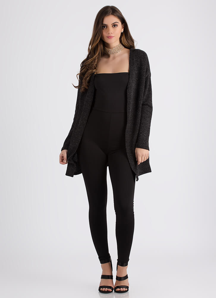 Don't Be Fooled Lace-Back Knit Cardigan BLACK
