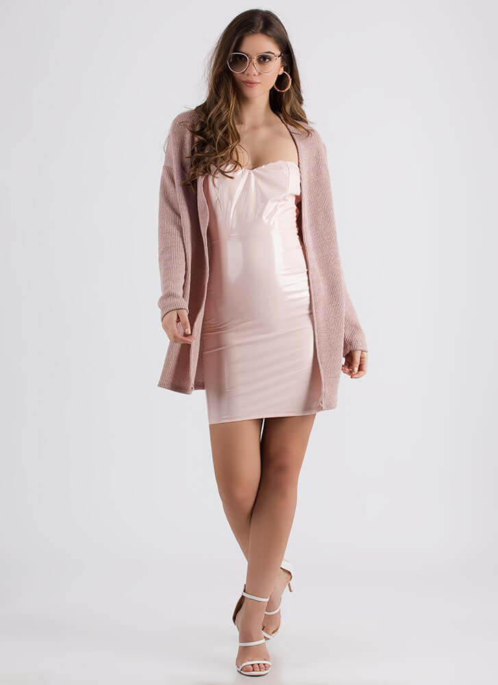 Don't Be Fooled Lace-Back Knit Cardigan DUSTYMAUVE