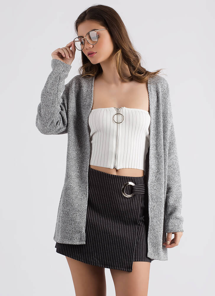Don't Be Fooled Lace-Back Knit Cardigan HGREY