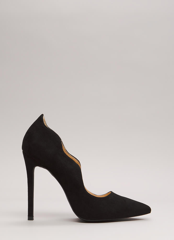 A New Wave Pointy Faux Suede Pumps BLACK