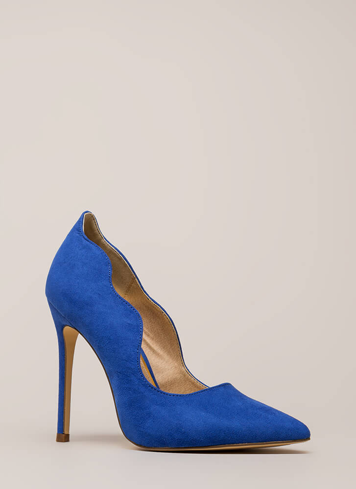 A New Wave Pointy Faux Suede Pumps BLUE