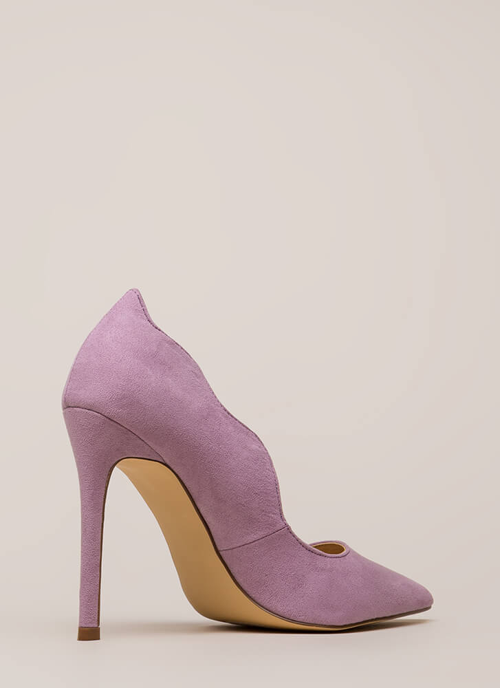 A New Wave Pointy Faux Suede Pumps LILAC