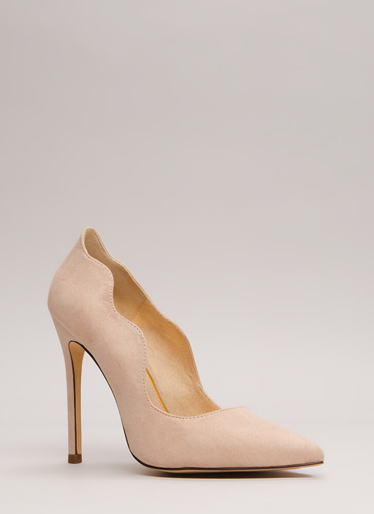 A New Wave Pointy Faux Suede Pumps NUDE