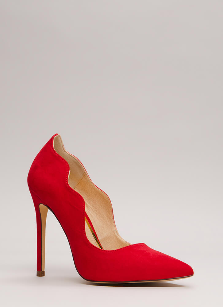 A New Wave Pointy Faux Suede Pumps RED
