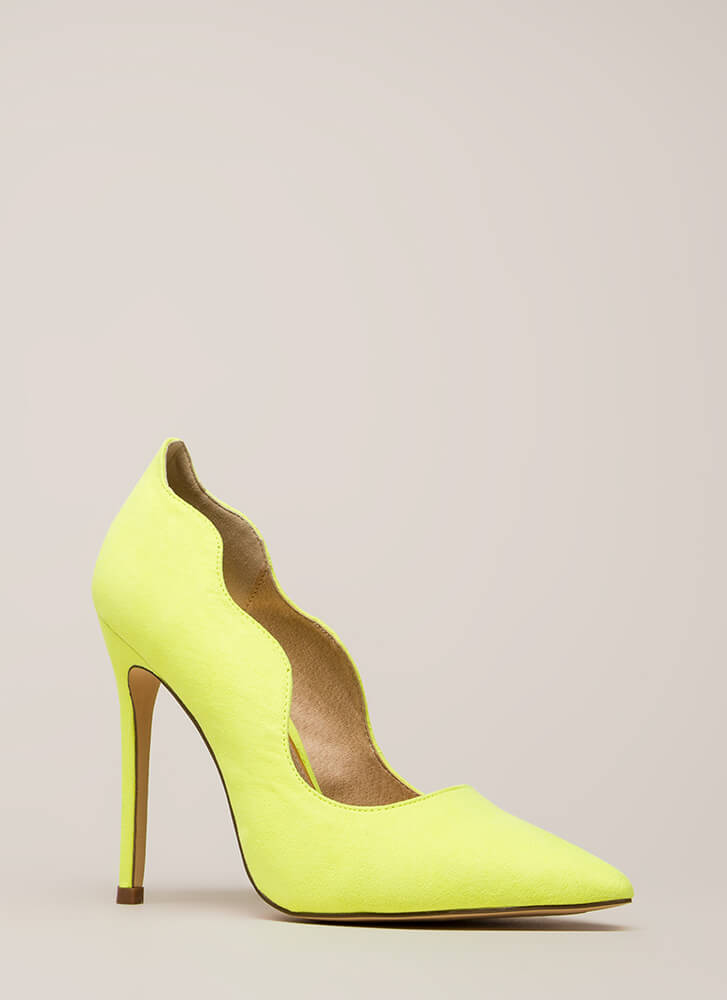 A New Wave Pointy Faux Suede Pumps YELLOW