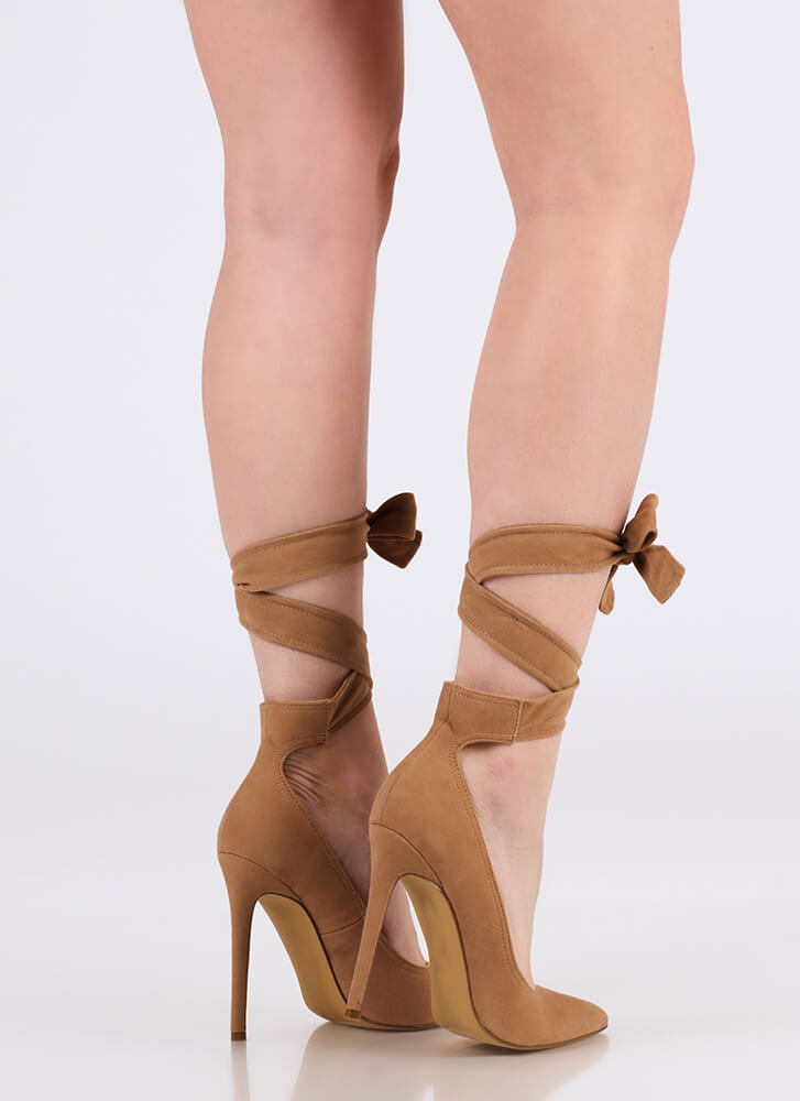 Ribbon Winner Pointy Lace-Up Heels TAUPE