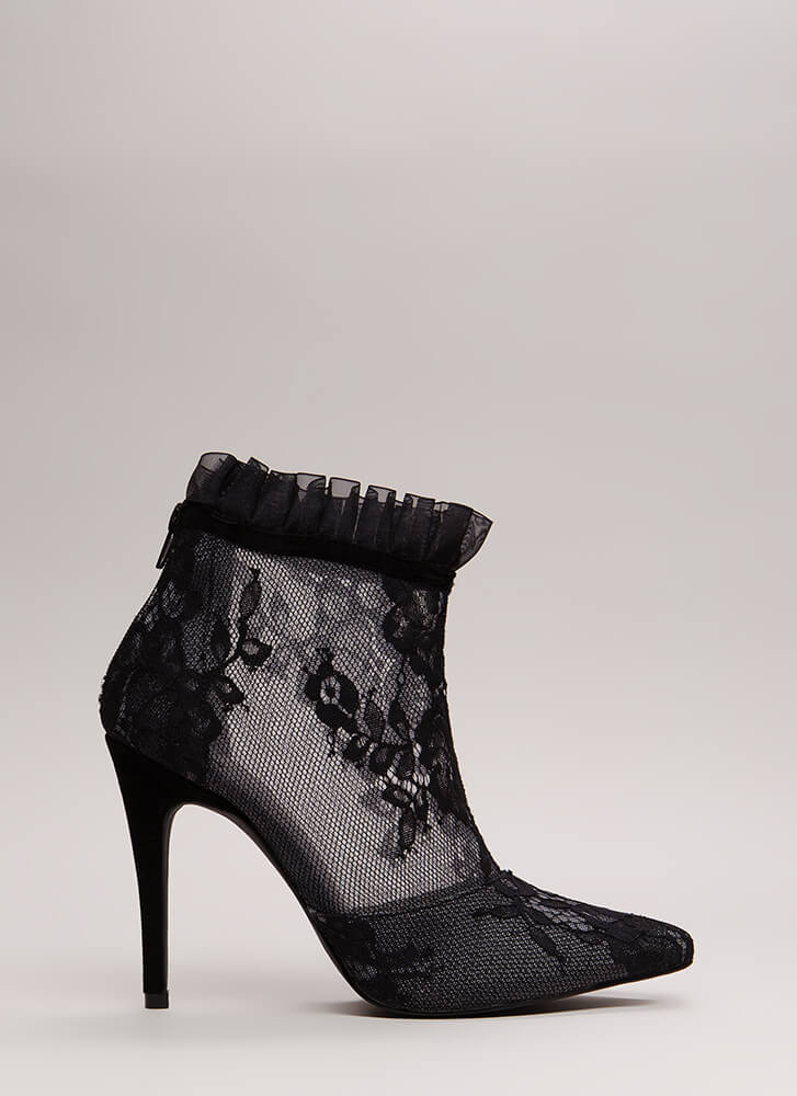 Lace With An Edge Pointy Mesh Booties BLACK