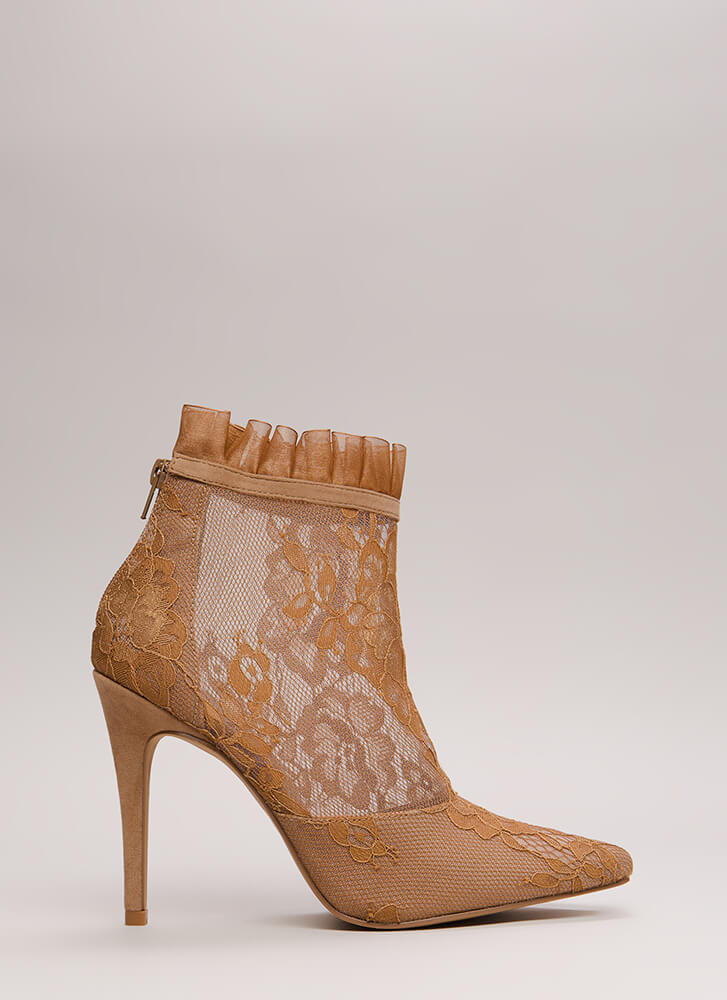 Lace With An Edge Pointy Mesh Booties TAUPE