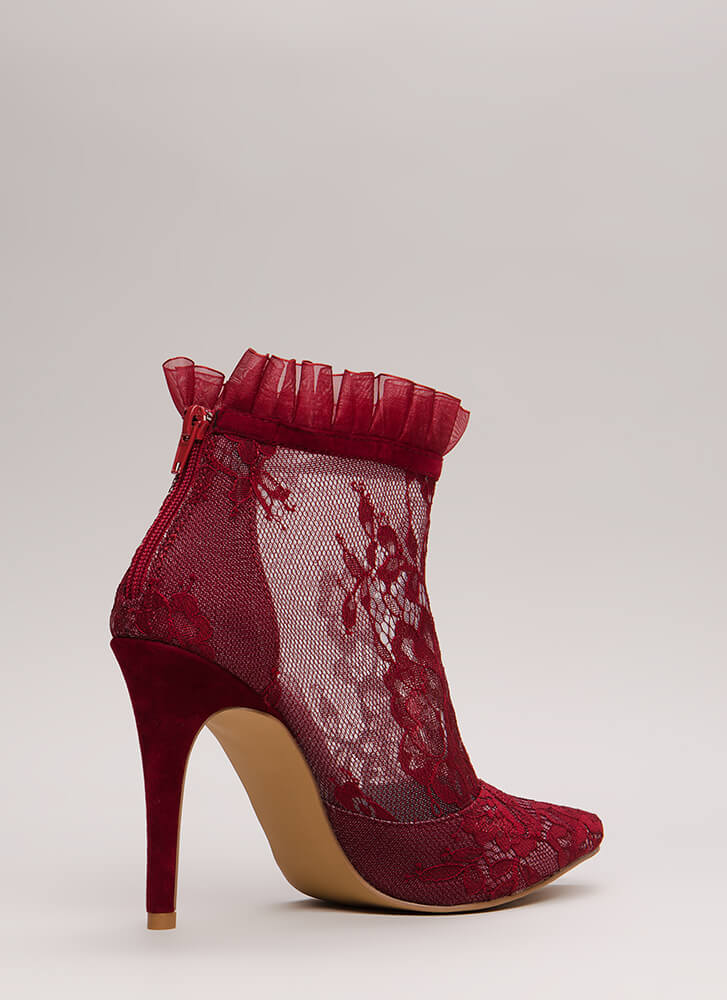 Lace With An Edge Pointy Mesh Booties WINE