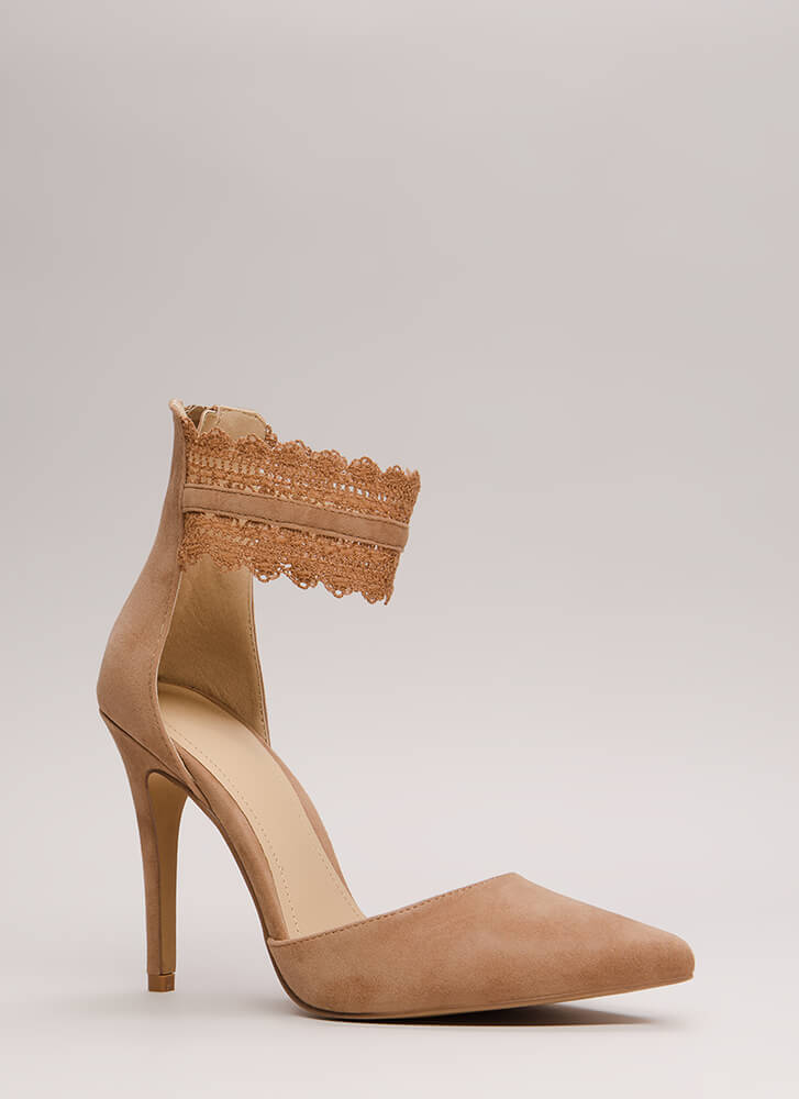 Cuff Love Pointy Crochet Strap Heels TAUPE