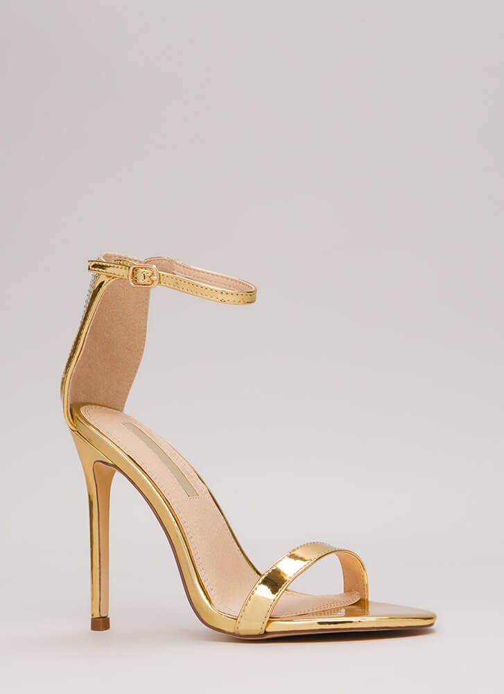 Sparkle Back Jeweled Metallic Heels GOLD