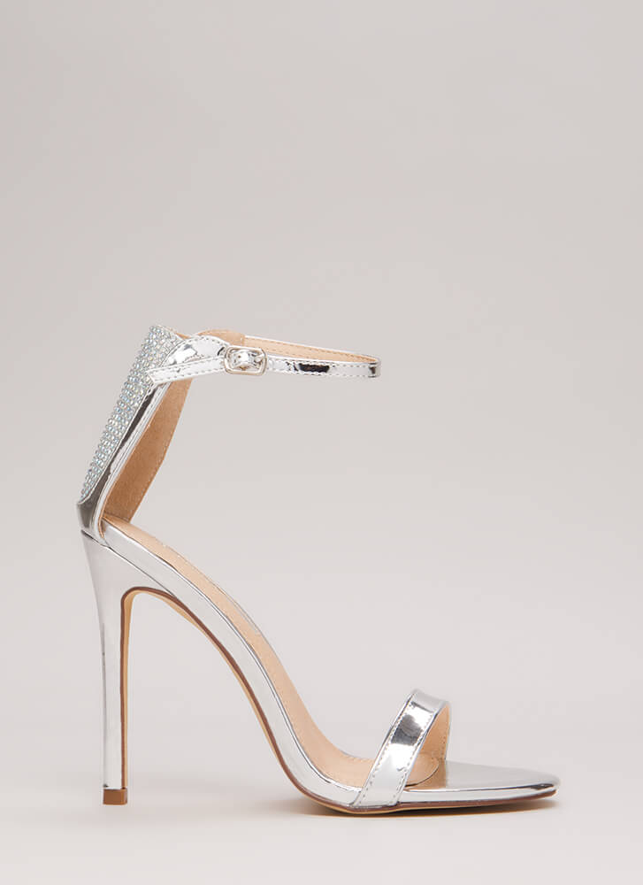 Sparkle Back Jeweled Metallic Heels SILVER