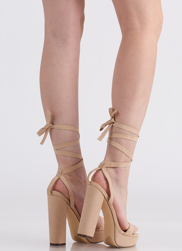 Wrap Song Faux Suede Lace-Up Platforms NUDE