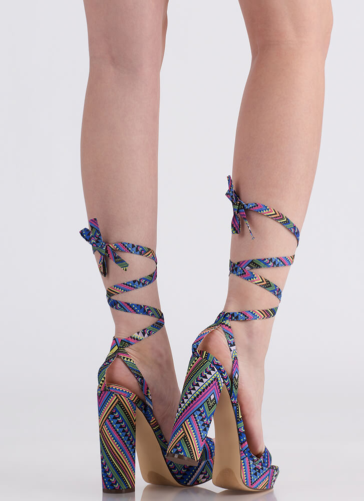 Wrap Song Printed Lace-Up Platforms MULTI