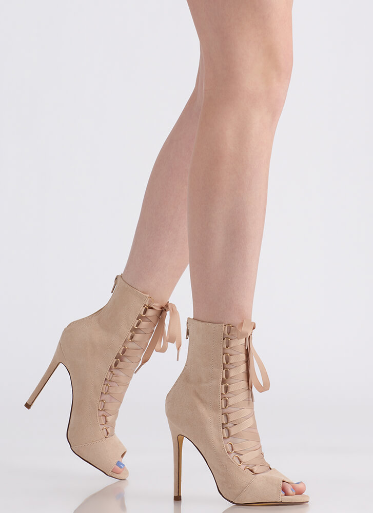Win The Ribbon Lace-Up Booties NUDE (You Saved $25)