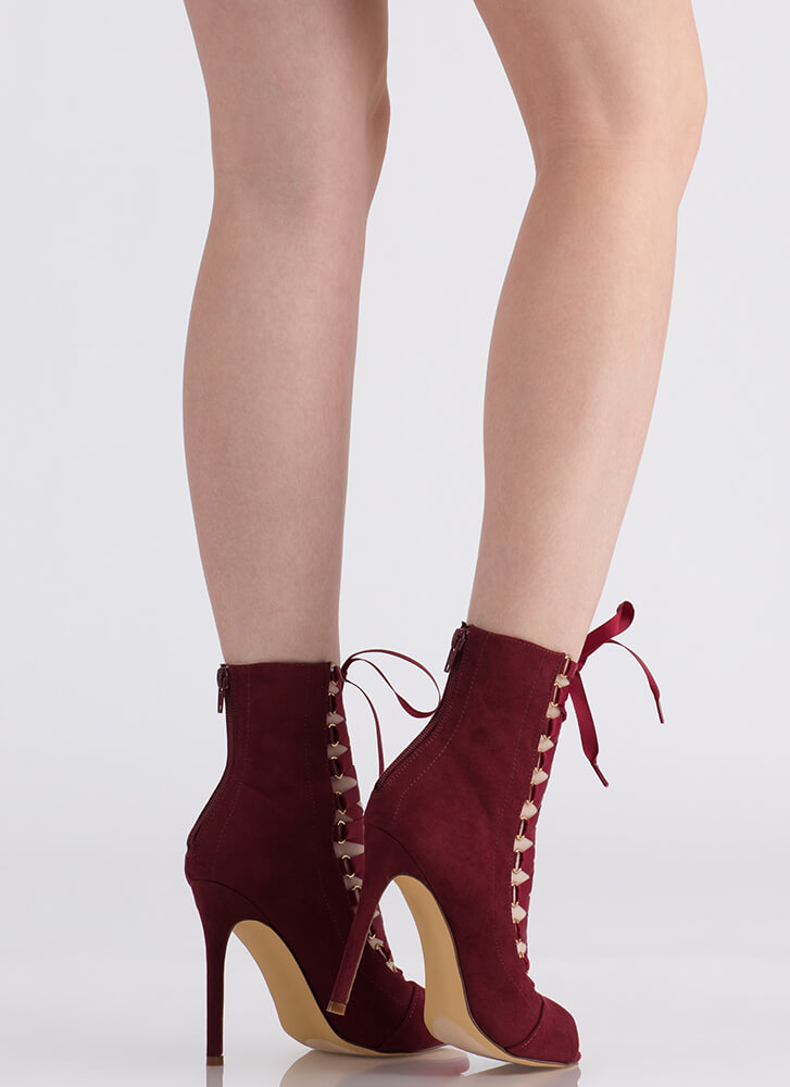 Win The Ribbon Lace-Up Booties WINE