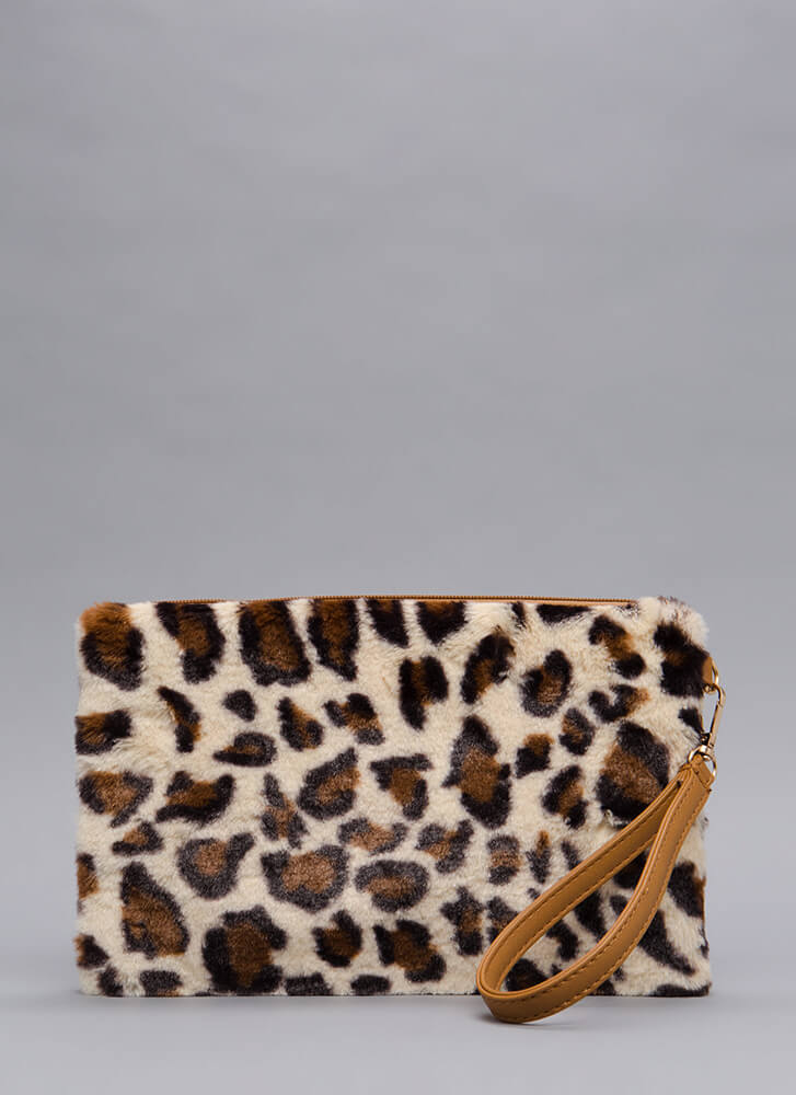 Lady And Leopard Faux Fur Clutch LEOPARD