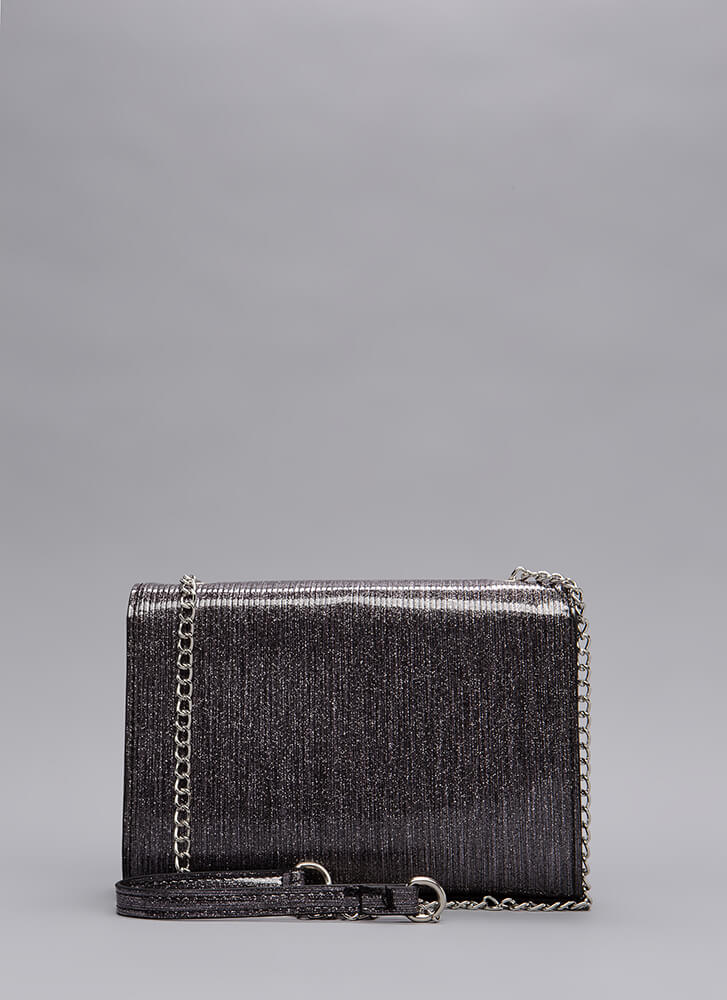Glamour And Glitter Chain Tassel Purse BLACK