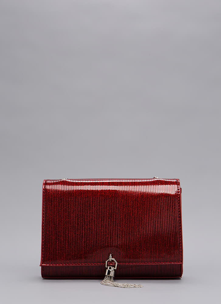 Glamour And Glitter Chain Tassel Purse RED