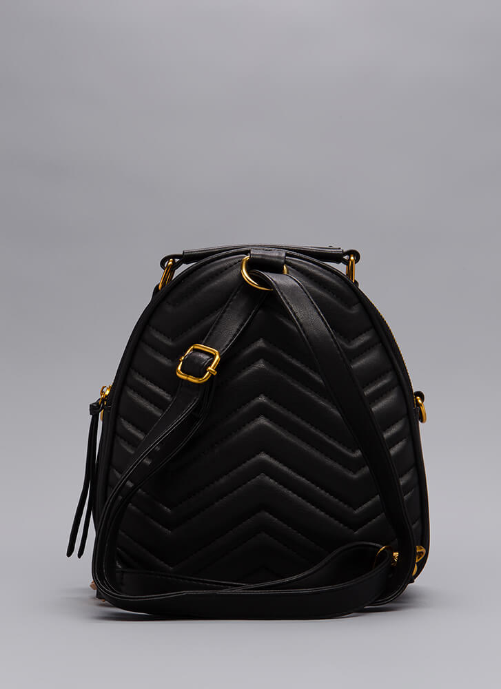 Which Direction Quilted Mini Backpack BLACK