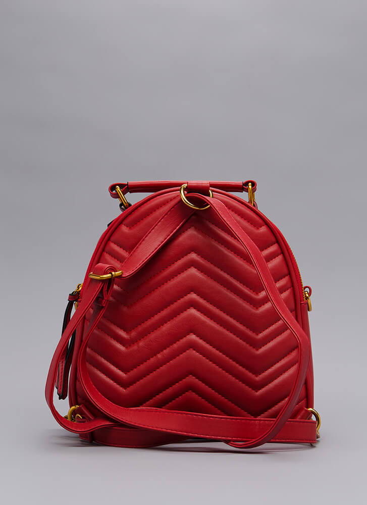 Which Direction Quilted Mini Backpack RED